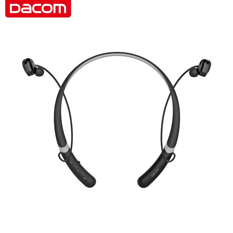 DACOM L02 Bluetooth Headset Double Dynamic Slim Neckband Earphone Wireless Sport Earbuds Headphone with Magnet Attraction bluetooth earphone headphones with magnet attraction slim neckband wireless headphone sport earbuds ear hook with mic