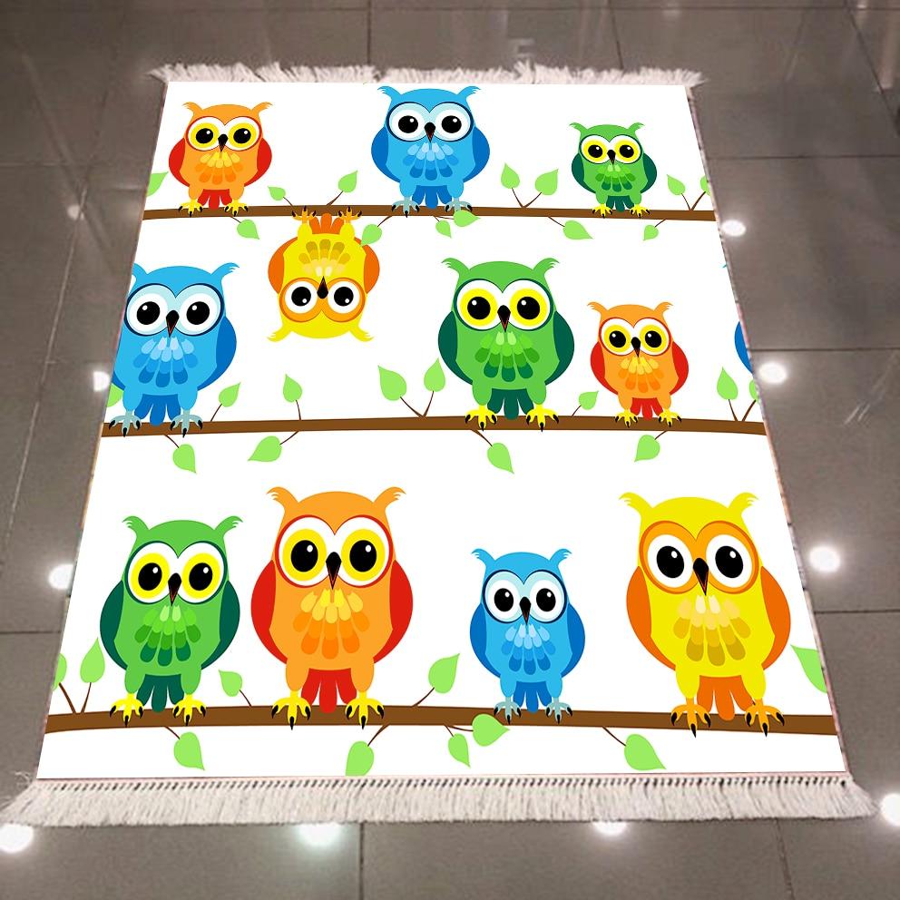 Else Yellow Blue Orange Owls On Tree Branch 3d Microfiber Anti Slip Back Washable Decorative Children Kilim Room Area Rug Carpet