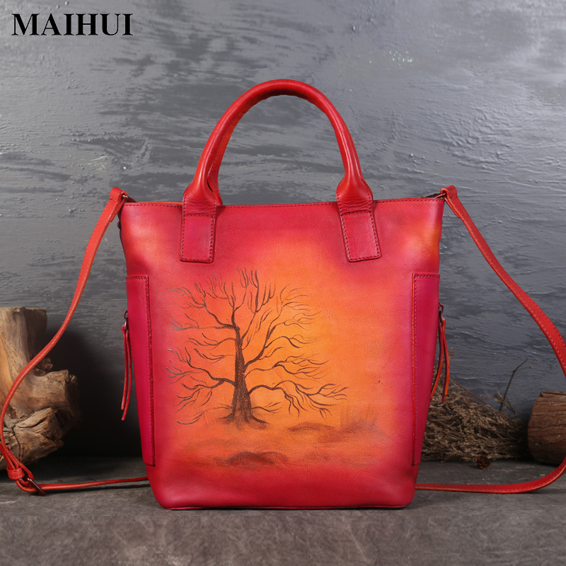 MAIHUI women leather handbags high quality ladies shoulder bags new chinese style cowhide real genuine leather woman tote bags genuine real leather tote bag ladies hand bags 2017 new fashion small woman shoulder bags high quality women leather handbags