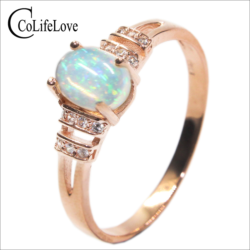Dazzling opal ring 0 7 ct 5 mm 7 mm natural opal gemstone ring solid 925