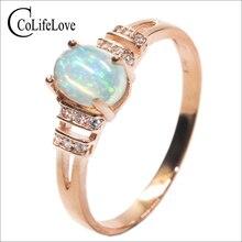 Deslumbrante anillo de ópalo 0.7 ct 5mm * 7mm naturales ópalo anillo de piedras preciosas esterlina del sólido 925 de plata anillo de ópalo aniversario romántico regalo