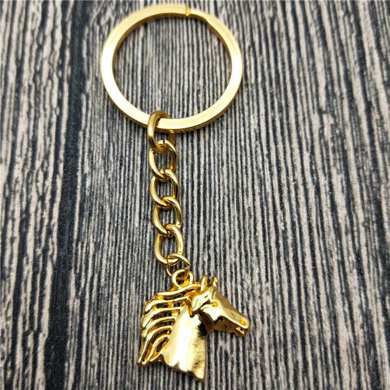 جديد المجوهرات العصرية الحصان الحصان سلاسل المفاتيح أزياء الحيوانات رئيس حقيبة السيارة المفاتيح كيرينغ للنساء الرجال