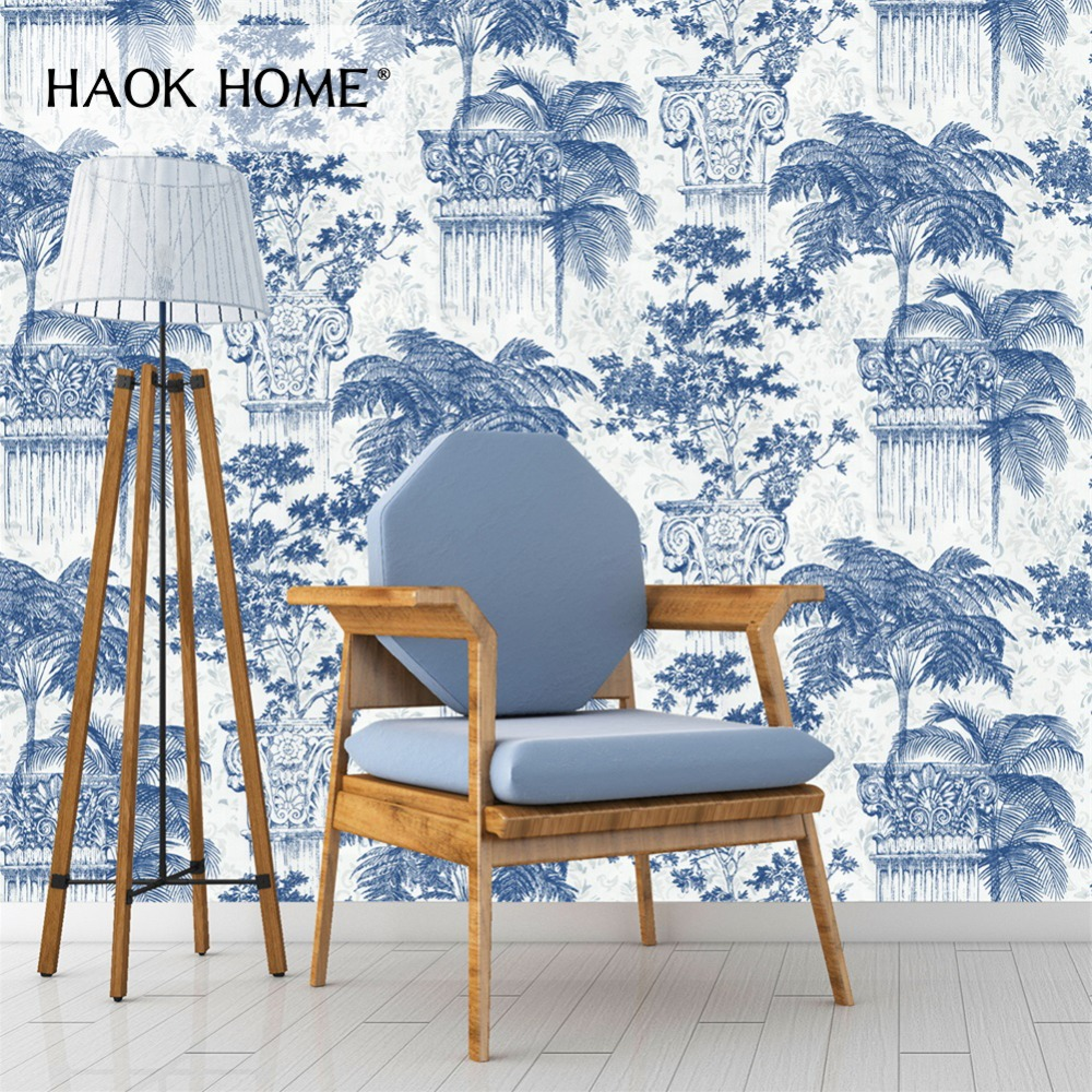 Haokhome Vintage 3d Floral Wallpaper 0 53m 10m Flower Contact Paper Blue Non Woven Wall Covering Living Room Bedroom Home Decor