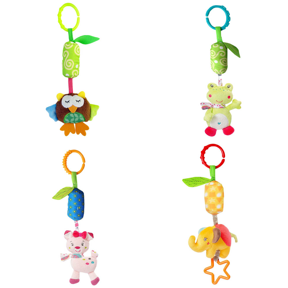 Lovely Infant Baby Kids Pram Bed Bells Soft Hanging font b Toy b font Animal Handbells