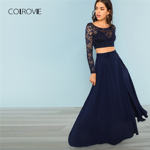 62582eb7d0531 COLROVIE Navy Crop Lace Top & Knot Skirt Sexy Women Set High Street Split  Mesh Two
