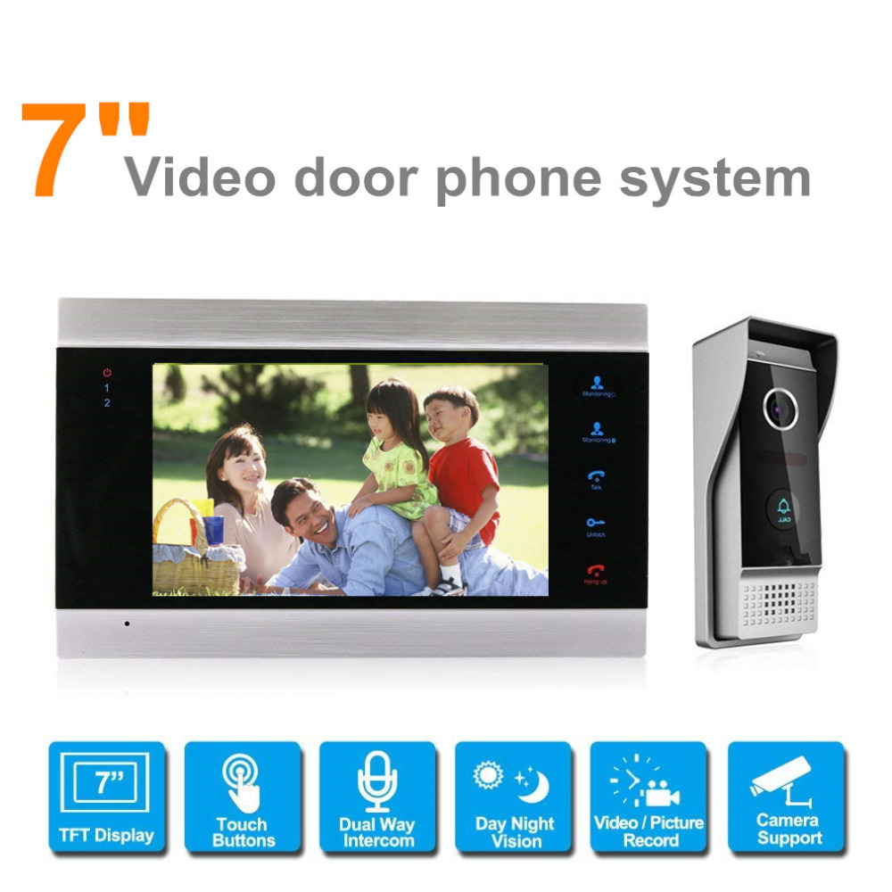 7'' TFT LCD Wired Video Door Phone Video Intercom Speakerphone System w/ waterproof Infared 1200TVL door bell camera SD Card 7 inch password id card video door phone home access control system wired video intercome door bell