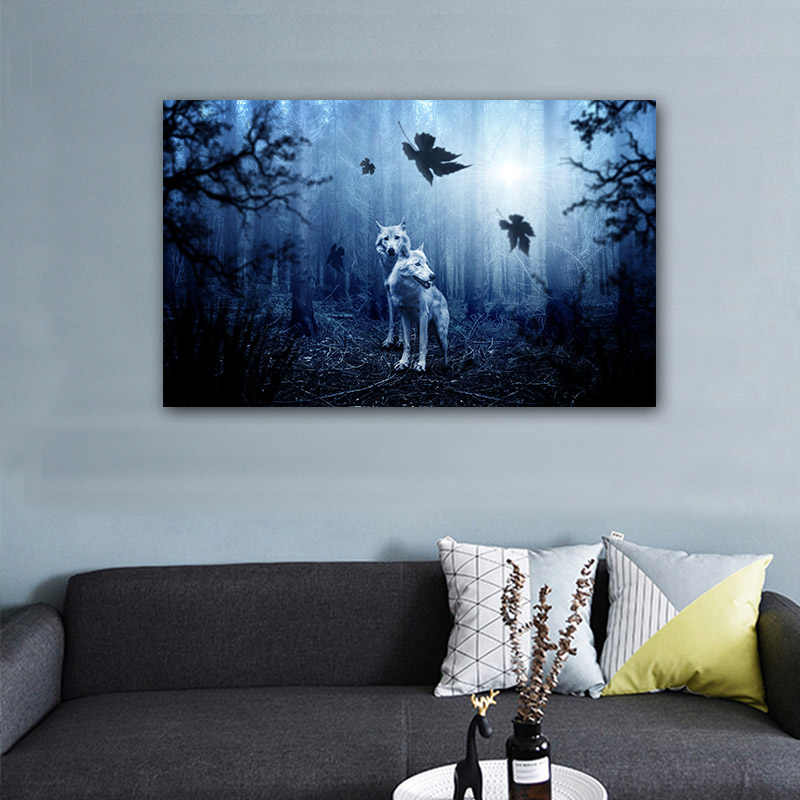 Modern Abstract Wolf Wall Art Prints Foggy Forest Canvas Painting Large Living Room Bedroom Decor Panorama Wolves Picture