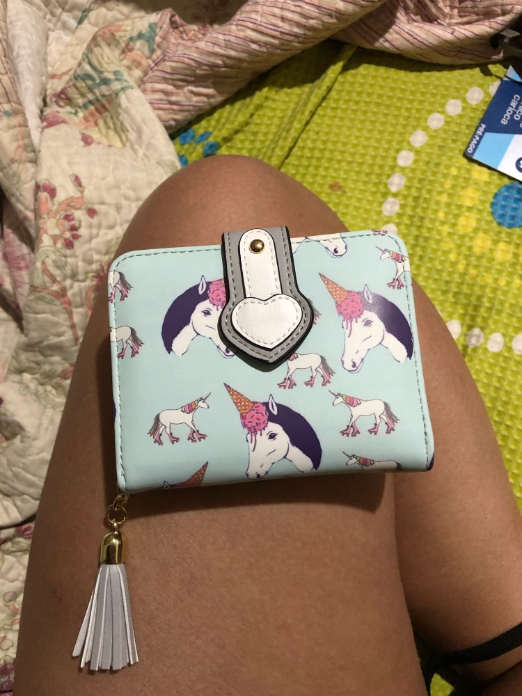 Women Short Type HASP Hand Wallet Cartoon Unicorn Printing Soft PU Leather Colorful Purse Wallet Ladies Clutch Coin Card Purse photo review