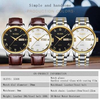 OLEVS Men's Water Resistant Stainless Steel Date Clock Quartz Watches 5