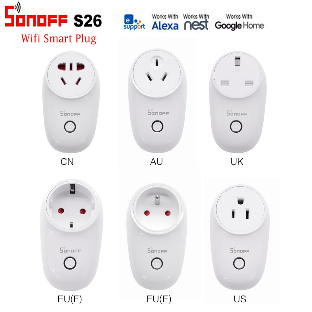 Sonoff S26 WiFi Smart Plug EU US UK CN AU Automation Home Remote Wireless Controls Adaptor APP control Socket for Mobile Phone sonoff eu us uk au standard wifi smart socket wireless remote control socket smart home automation smart power socket plug