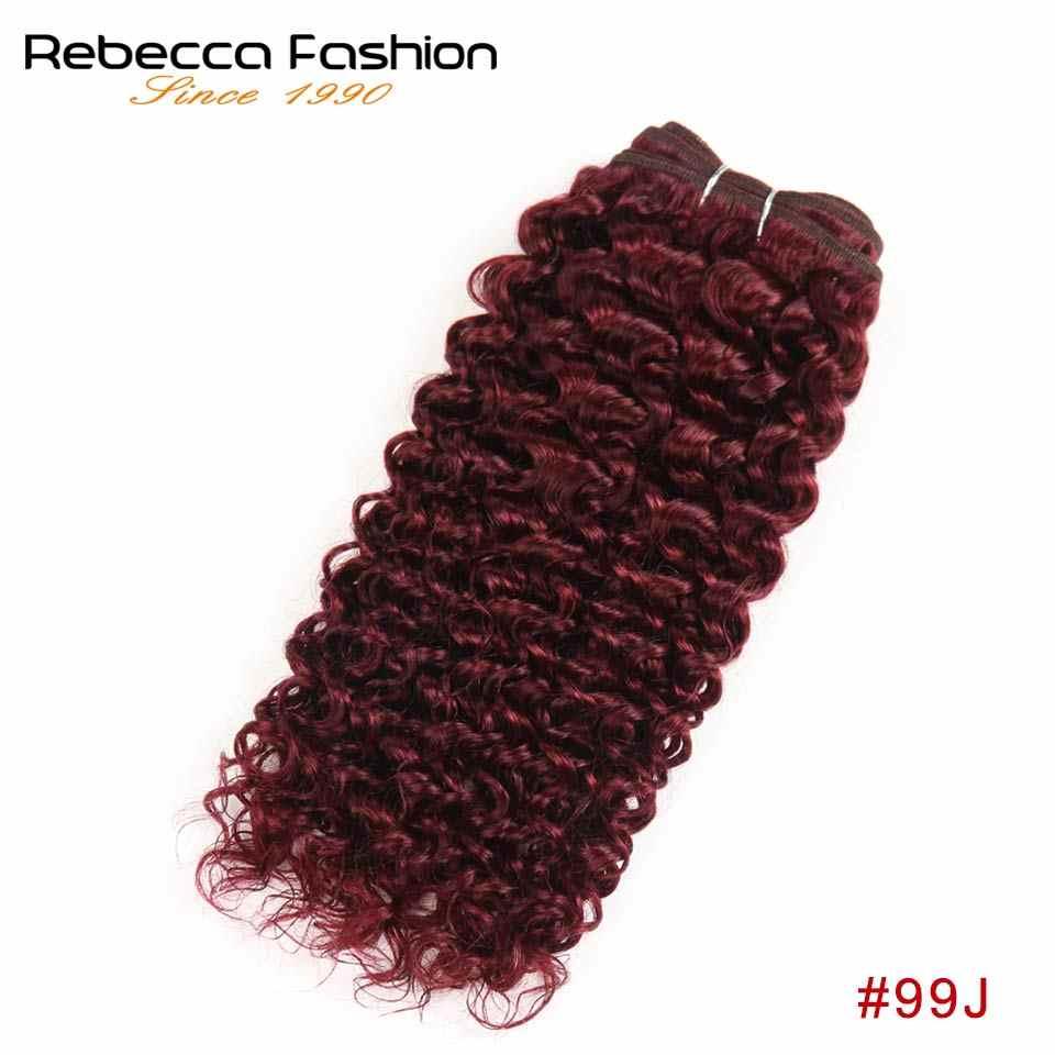 Rebecca Remy бразильский парик с кудрями человеческие волосы Связки 100 г предварительно цветной цвет красного вина странный нарощенные кудрявые волосы бесплатная доставка #30 #27