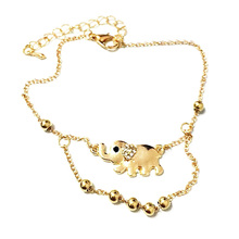 New fashion lucky elephant elephants golden double foot chain anklets