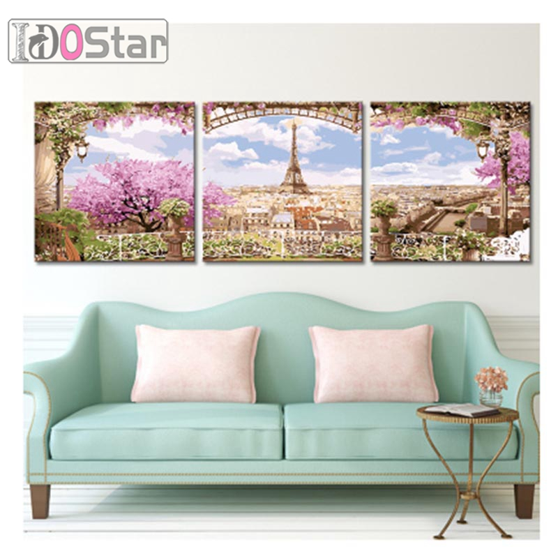 Triptych painting modular wall pictures Outside the window landscape diy oil paintings on canvas coloring by numbers picture