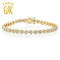 14k Yellow Gold Plated Diamond Heart Shape Women S Bracelet 8 Inch