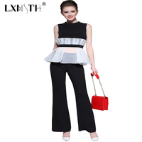 LXMSTH New Summer Pants Suits For Women Patchwork Two Piece Pants Set Sleeveless Top Straight Trousers