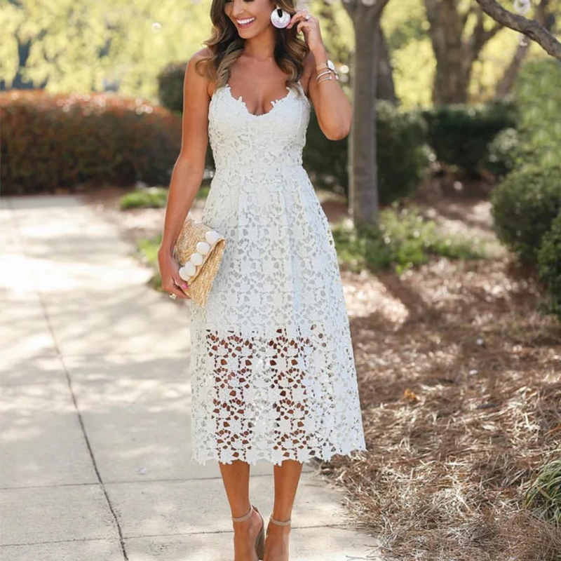 Bohemiah Lace Dress Summer Women Elegant Fit and Flare White Party Beach Dresses Long Spaghetti Dress Z0011 Платье