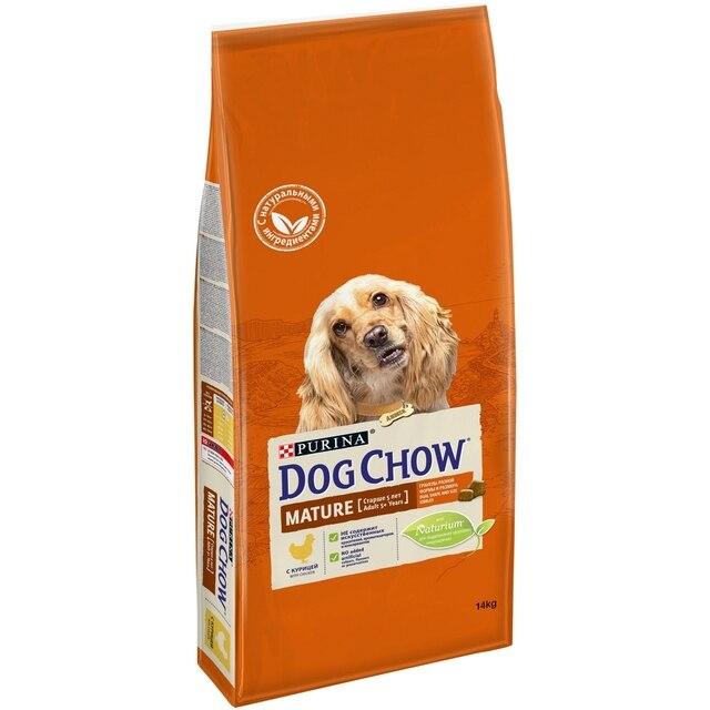 Dog Chow Mature для собак всех пород в возрасте 5 - 9 лет, Курица, 14 кг
