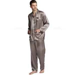 Image 5 - رجل الحرير بيجامة من الساتان مجموعة بيجامة بيجامة مجموعة ملابس النوم لونجوير S ، M ، L ، XL ، XXL ، XXXL ، 4XL حجم كبير _ كبيرة وطويلة القامة