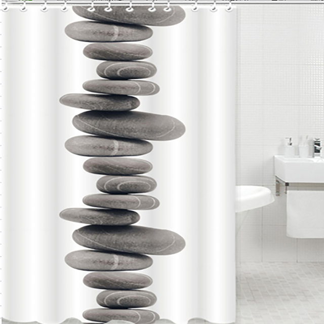Shower Curtain Pebbles Tub Waterproof Bathroom Zen Stones Novelty Stylish  Soothing Cool Shower Curtains
