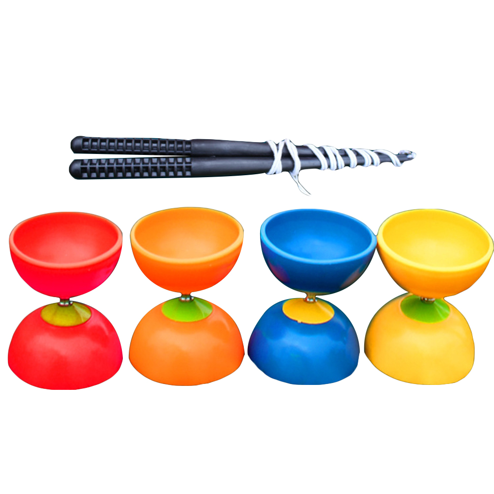 Funny Chinese YOYO 3 Bearing Clutch Diabolo Set Metal Sticks String Bag Toys ...