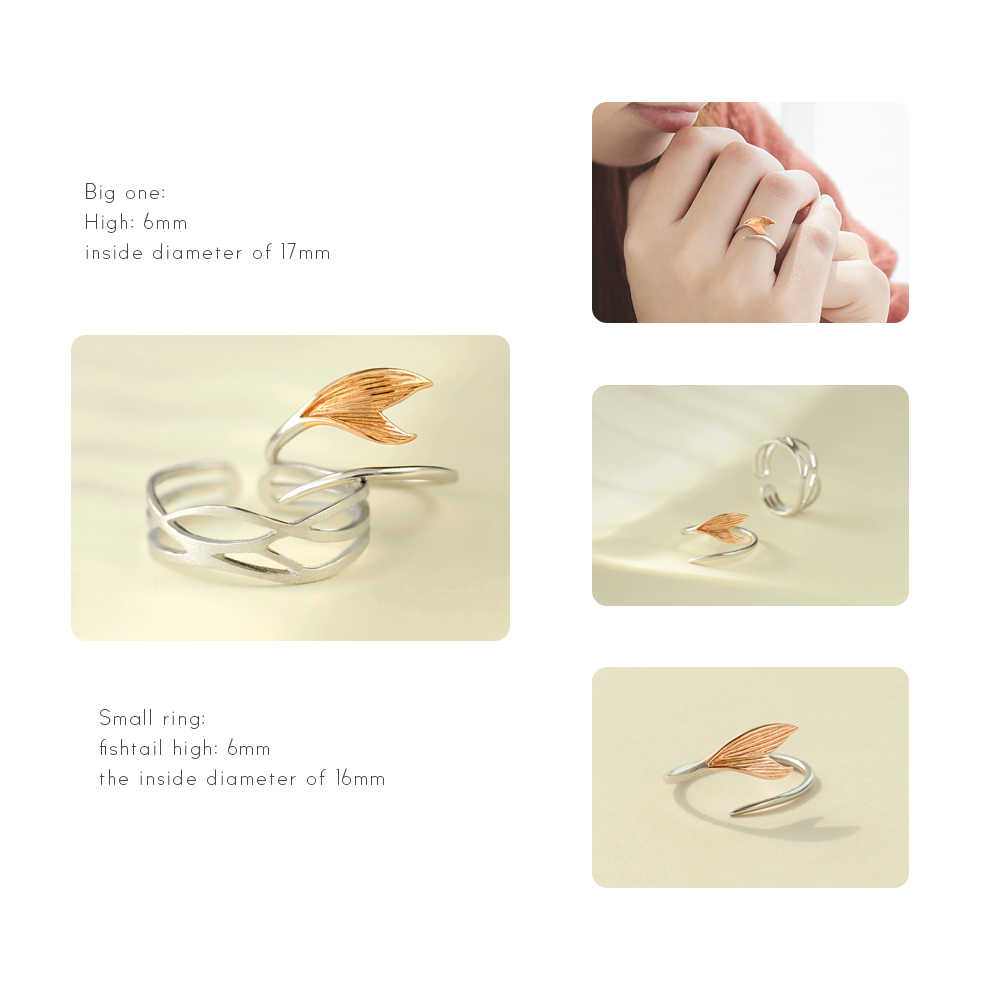 Thaya ของแท้ s925 เงินสี Beauty Fishtail แหวน handmade Wave แหวนแหวนหมั้นผู้หญิงเครื่องประดับ