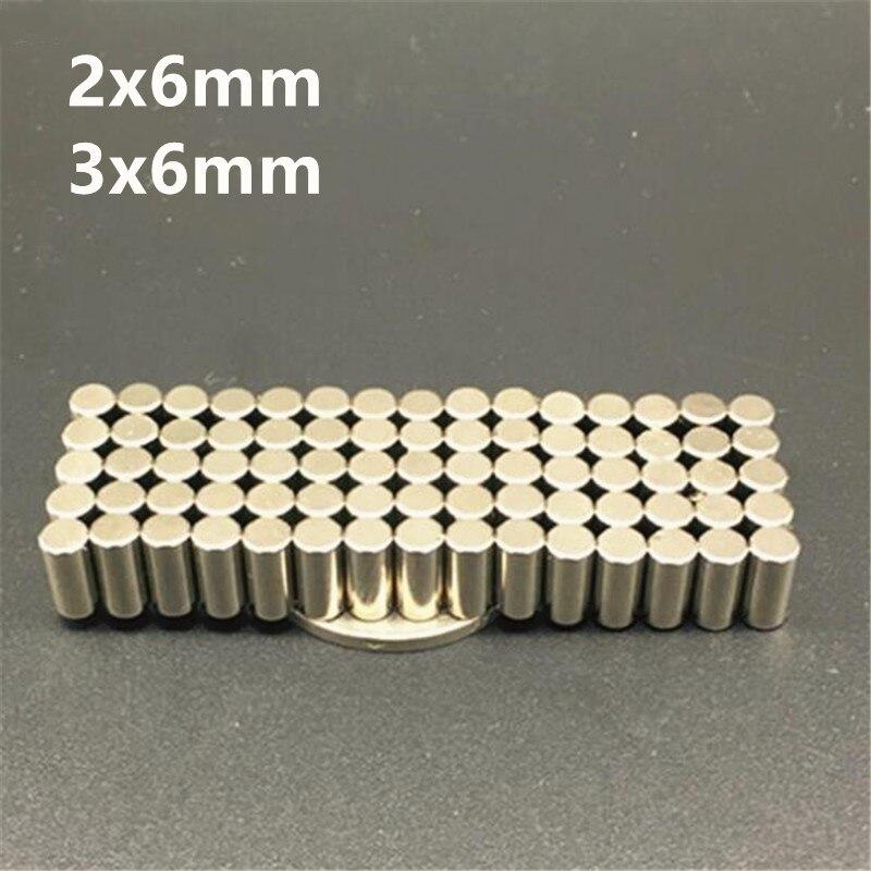 500 pièces NdFeB diamétralement aimant tige diamètre 2x6mm 3x6mm précision bricolage expérience Center-moins meulage 3500GS Surface champ