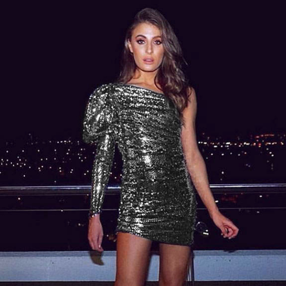 ADYCE 2019 New Summer Women Celebrity Evening Party Dress Sexy One Shoulder Sequined Long Sleeve Bodycon