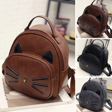 Women's Faux Leather Cartoon Cat Pattern Backpack Travel School Bag