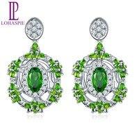 LP Customized 9K 10K 14K 18K White Gold Natural Gemstone Chrome Diopside & Diamond Stud Earrings Fine Jewelry For Women's Gift