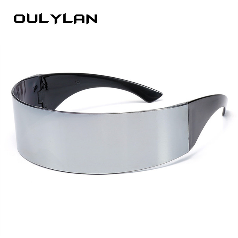 Oulylan Classic Wrap <font><b>Sunglasses</b></font> Men Women Hairband Integral Silver Shades Flat Top Novelty Costume Party Funny Strange Glasses image