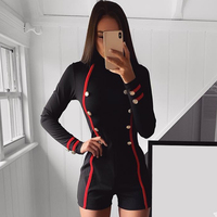 ADYCE 2019 New Arrival Summer Runway Women Bandage Jumpsuit Elegant Black Long Sleeve Button Short Club Rompers Women Jumpsuits