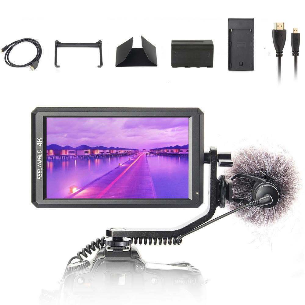 Feelworld F6 5.7 IPS 4 K HDMI Moniteur pour DSLR ou Mirrorless Caméra Cardan + Batterie il Peut Alimenter pour DSLR ou Sans Miroir caméra