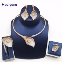 Hadiyana Luxury Glory Flower Africa Party Jewelry Zirconia Set Top Quality 3 Tone Gold Women Nigerian 4pcs Wedding Set CN748