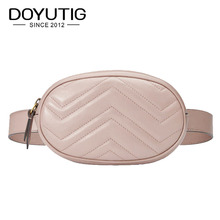 DOYUTIG European Design Women PU Leather Belt Bags Young Lady Lovely Mini Size Waist Packs Luxury Famale Fashion Casual Bag F618