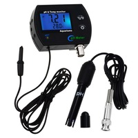 PH & Temperature 2 in 1 Continuous Monitor Meter w/ Backlight Water Quality Monitoring Kit 0.00~14.00pH degC/ degF Dual Display