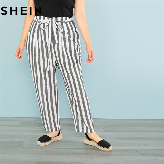 6791628ec517 SHEIN Black and White Striped Belted Plus Size Women Pants 2018 Autumn New  Office Lady Casual Slant Pocket Trousers With Sashes
