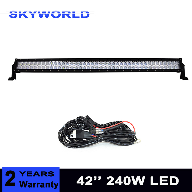 42 Inch 240W LED Light Bar for Work Driving Boat Car Truck 4x4 4WD SUV ATV UTE Off Road Fog Lamp With Relay Harness 33 180w led work light high power driving off road suv atv 4wd ute marine spot flood beam car truck 10 30v dc 11250lm ip67