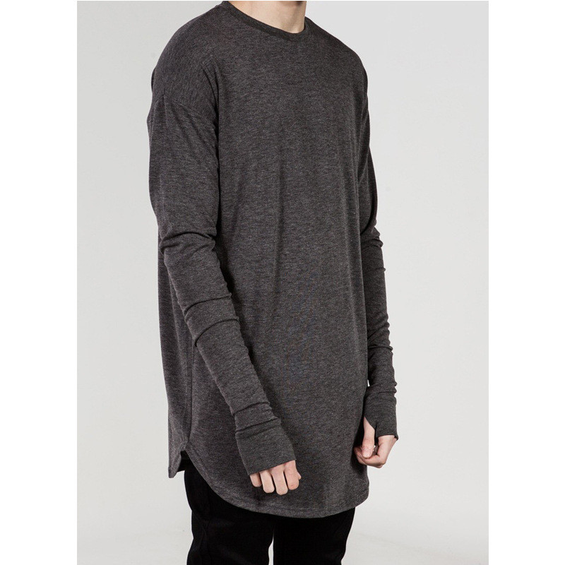 Hip hop streetwear thumb hole man tshirt wholesale fashion t shirt men autumn long sleeve oversize design hold hand t-shirts