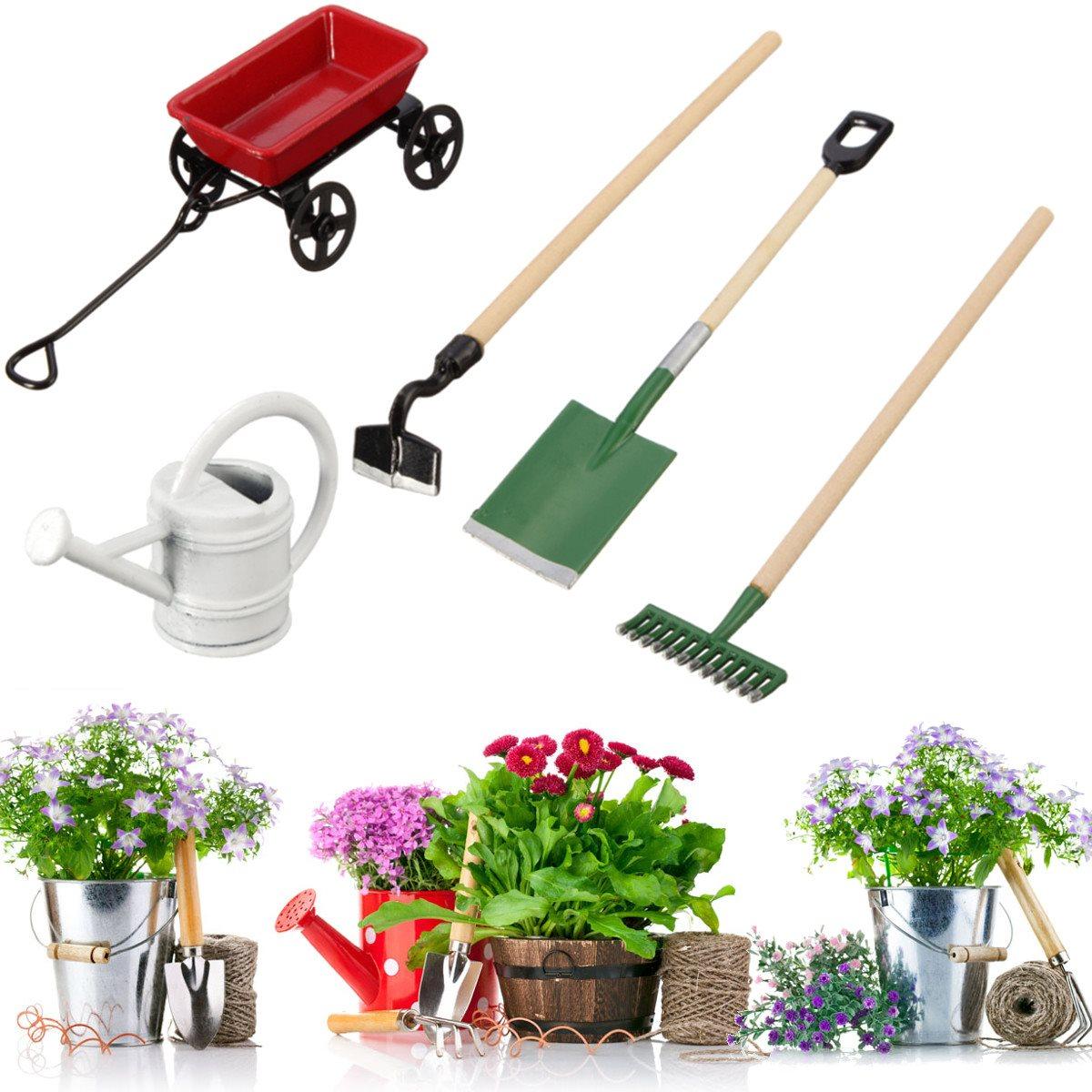 Diy miniatura metal watering can pulling cart spade rake for Garden house for tools