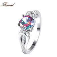 Romad Zircon Engagement Rings For Women Wedding Rings Female Crystals Jewelry Colorful Round Zircon Ring