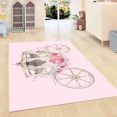 Else Pink Vintage Retro Horse Car Floral Flowers Girls  3d Print Non Slip Microfiber Children Kids Room Decorative Area Rug Mat