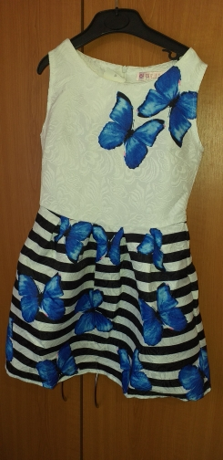 Vintage Casual Sleeveless Butterfly Patterned Girl's Dress photo review