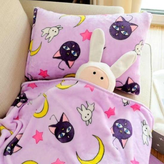 100x100 cm/150x200 cm sailor moon luna chat doux corail polaire bébé couverture canapé jeter couverture enfants lit feuille couvre-lit adulte