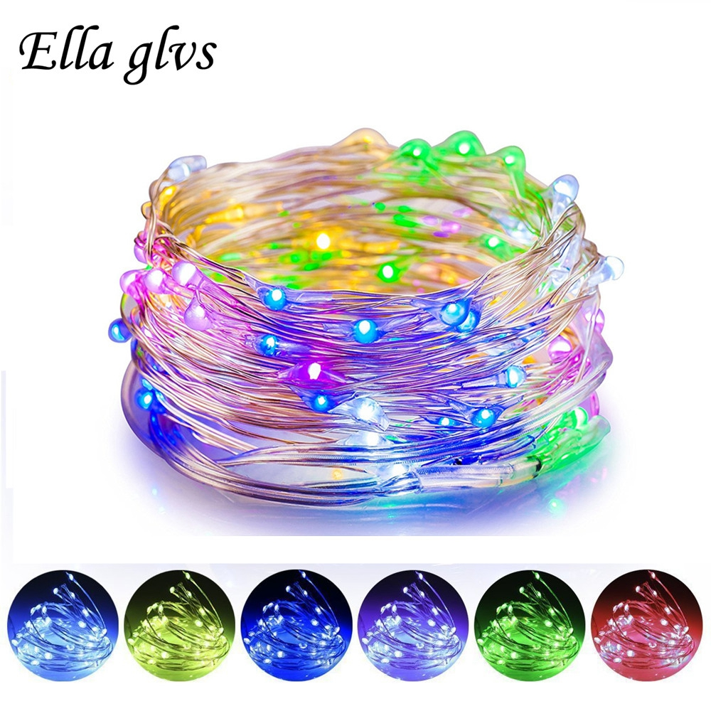 Light string Battery 1M 2M 5M 10M LED String Lights For Xmas Garland Party Wedding Decoration Christmas Tree Flasher Fairy Light