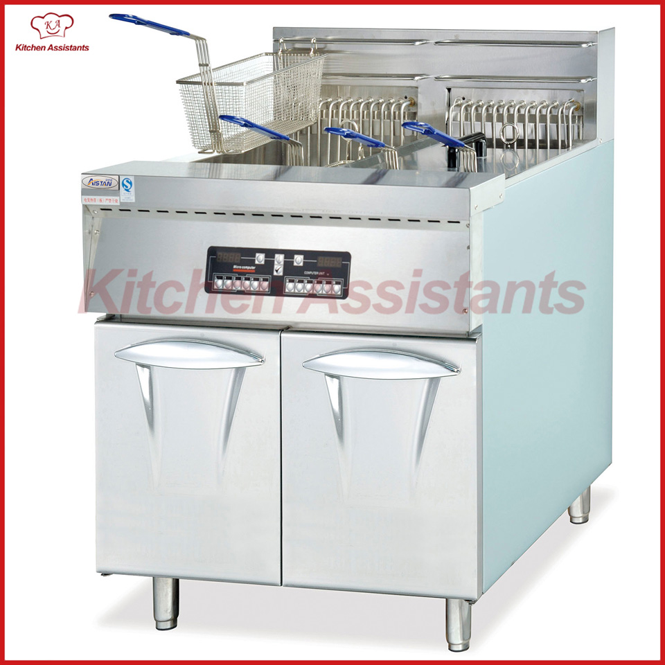 DF30-2 2 tank vertical electric computer KFC deep fryer with cabinet df33a luxury electric computer fryer with 1 tank 2 baskets with oil filter cart