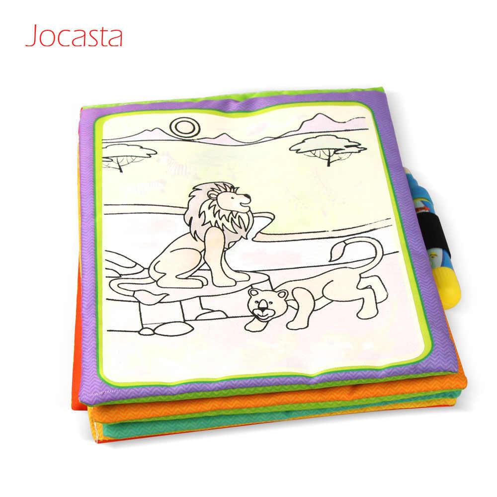 Tema Hewan Sihir Air Menggambar Buku & 2 Pena Ajaib Buku Mewarnai Doodle Tidak Beracun Lukisan Papan Mainan Pendidikan Untuk Anak Anak
