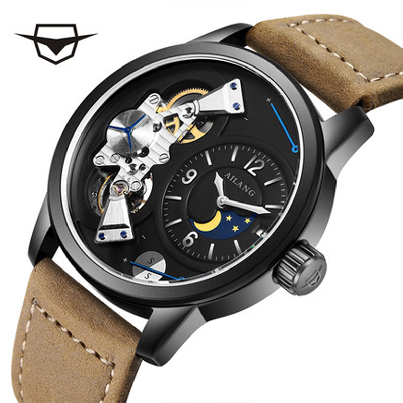 AILANG Luxury Brand Mechanical Watches Unisex Skeleton of Sun Moon Phase Taichi Pattern Strap  black Genuine Leather. free shipping time100 top brand sun moon phase taichi pattern genuine leather strap skeleton automatic mechanical watches clock