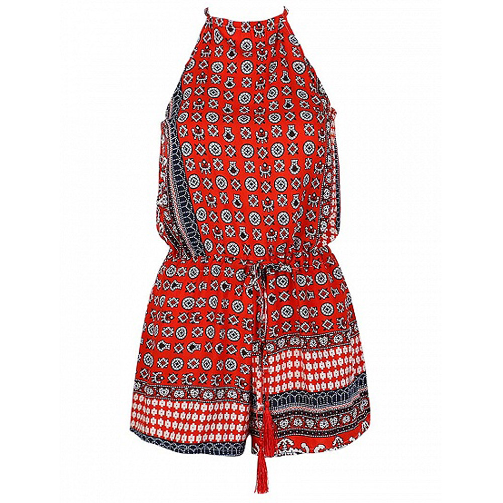2018 New Summer Women Sexy Vintage print spaghetti strap jumpsuit backless Playsuit Shorts Rompers