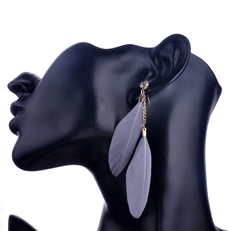 Lureme 6สีเสน่ห์ผู้หญิงต่างหูขนนกแฟชั่นใหม่ที่มีสีสันวินเทจหรูหรายาวต่างหูห้อยBijouxเครื่องประดับ(er005294)