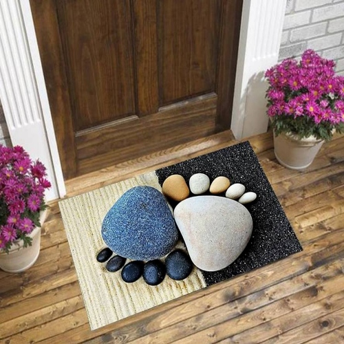 Else Cream Black Pebble Stones Blue Foot Stones 3d Pattern Print Anti Slip Decorative Floor Door Mat Home Entryway Livingroom